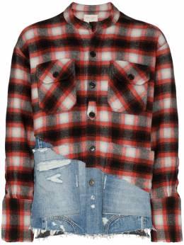 Greg Lauren джинсовая рубашка в клетку M109M