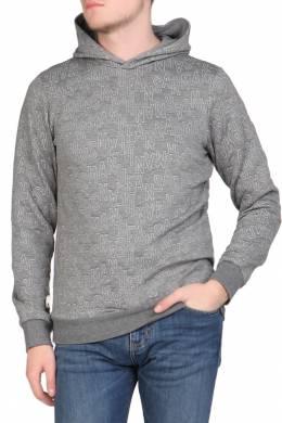 Серая толстовка с белыми надписями Armani Jeans 1742149182