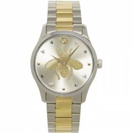 Gucci Silver and Gold G-Timeless Bee Watch YA1264131