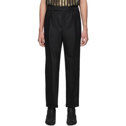 Saint Laurent Black Grain De Poudre Cuffed Trousers 563592Y029V