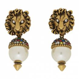 Gucci Gold Pearl Lion Head Earrings 580603 I4762