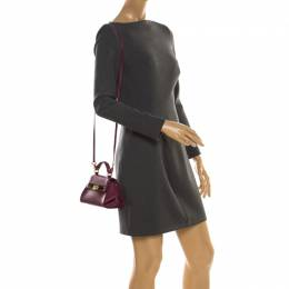 Salvatore Ferragamo Burgundy Leather Mini Sofia Crossbody Bag 218975