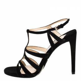 Prada Black Suede Cross T Strappy Sandals Size 39 219664