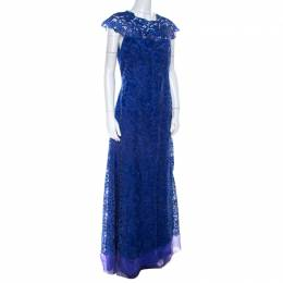 Tadashi Shoji Royal Blue Lace Cap Sleeve Milien Evening Dress M 219692