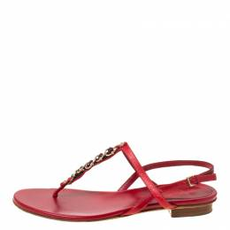 Gucci Red Leather Chain Strap Thong Sandals Size 36 219479