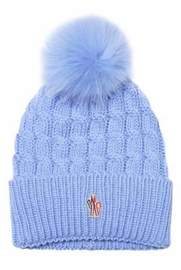 Шерстяная шапка голубого цвета Moncler 34149586