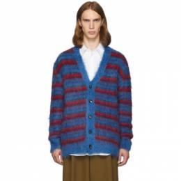 Marni Blue and Red Mohair Cardigan CDMG0025Q0 S16859