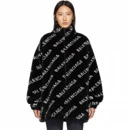 Balenciaga Black Faux-Fur Zip Jacket 595049-THQ01