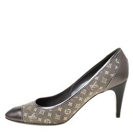 Louis Vuitton Grey Monogram Canvas Mini Leather Cap Toe Pumps Size 41 222141