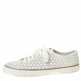 Tory Burch White Perforated Leather Daisy Lace Up Sneakers Size 40
