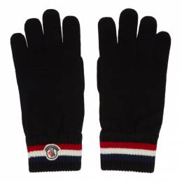 Moncler Black Wool Stripe Gloves E2091 00549 00 02292
