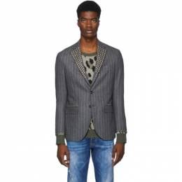R13 Grey Studded Tailored Blazer R13M4001-26B