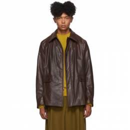 Dries Van Noten Brown Faux-Leather Jacket 20520-8166-703