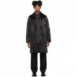 Dries Van Noten Black Coated Satin Coat 20218-8516-900