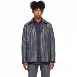 Dries Van Noten Grey Faux-Leather Jacket 20520-8166-802