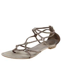 Rene Caovilla Dark Beige Crystal Embellished Leather Gladiator Flat Sandals Size 40