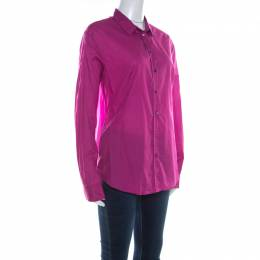 Jil Sander Magenta Pink Cotton and Silk Long Sleeve Shirt M 220246