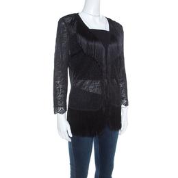 Escada Black Crochet Fringe Detail Cardigan L 220710