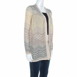 M Missoni Ombre Wave Patterned Lurex Knit Open Front Cardigan S 220522