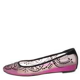 Rene Caovilla Black/Purple Crystal Embellished Mesh Ballet Flats Size 38.5 222381