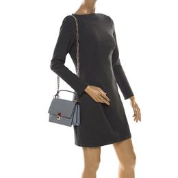 Fendi Ash Grey Leather Small Kan I Crossbody Bag 220520