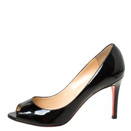 Christian Louboutin Black Patent Leather Flo Peep Toe Pumps Size 38 222114