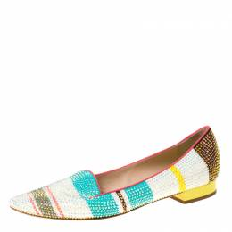 Rene Caovilla Multicolor Crystal Embellished Slip On Flats Size 38.5