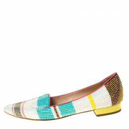 Rene Caovilla Multicolor Crystal Embellished Slip On Flats Size 38.5 222275