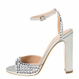 Baldinini Grey Studded Satin Open Toe Slingback Sandal Size 37.5 222613
