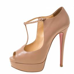 Christian Louboutin Beige Leather Alta Poppins T Strap Peep Toe Platfrom Pumps Size 38.5 222442