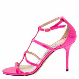 Jimmy Choo Neon Pink Patent Leather Thistle Open Toe Sandals Size 35 220757