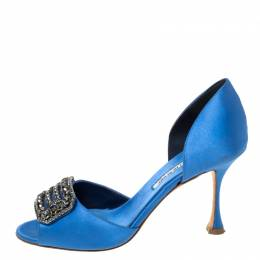 Manolo Blahnik Blue Satin Alicia Embellished Peep Toe Sandals Size 37 220758