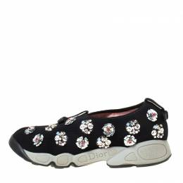 Dior Black/Grey Embellished Fabric Fusion Sneakers Size 37.5 222138
