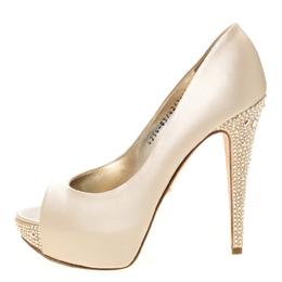 Gina Beige Satin Jenna Crystal Embellished Heel Peep Toe Platform Pumps Size 39.5 222831