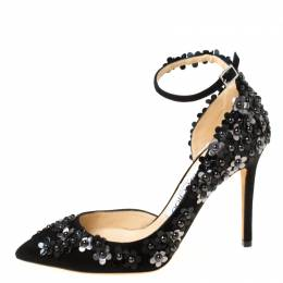 Jimmy Choo Black Floral Applique Suede Lucy Pointed Toe D'orsay Pumps Size 35 222455
