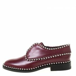 Alexander Wang Burgundy Leather Stud Trim Brogues Loafers Size 38.5 222129