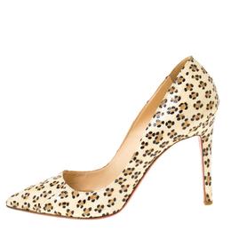 Christian Louboutin Cream/Black Cheetah Print Snakeskin So Kate Pointed Toe Pumps Size 38.5 222339