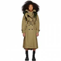 Sacai Beige Coated Cotton Trench Coat 19-04701