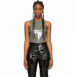 Tibi Grey Tech Patent Bodysuit F119PA2104