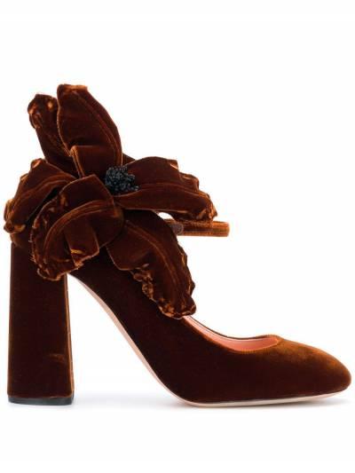 Rochas бархатные туфли-лодочки с аппликацией в форме цветка RO31091A - 1