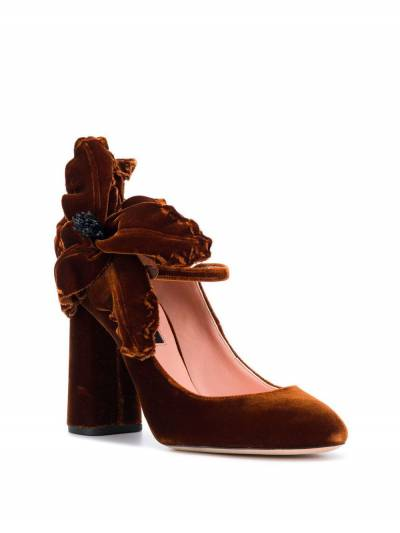 Rochas бархатные туфли-лодочки с аппликацией в форме цветка RO31091A - 2