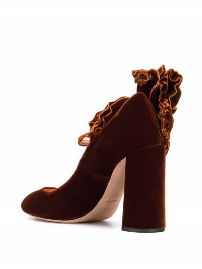 Rochas бархатные туфли-лодочки с аппликацией в форме цветка RO31091A - 3