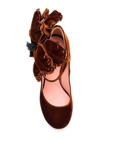 Rochas бархатные туфли-лодочки с аппликацией в форме цветка RO31091A - 4