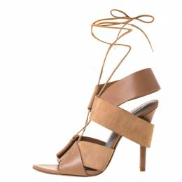 Alexander Wang Dark Beige Cut Out Leather and Suede Peep Toe Ankle Wrap Sandals Size 37.5 221547