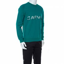 Carven Teal Green Cotton Cutout Detail Sweatshirt L