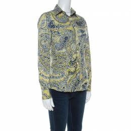 Etro Yellow Paisley Print Cotton Button Front Blouse S 221635
