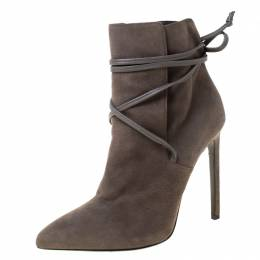 Saint Laurent Paris Grey Suede Pointed Toe Wrap Ankle Boots Size 39