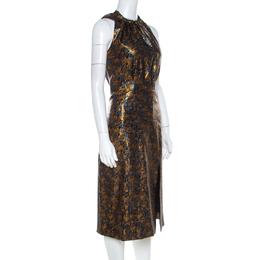 Prada Gold Floral Brocade Halter Midi Dress M 220858