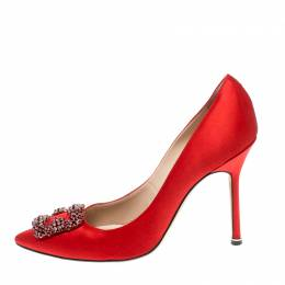 Manolo Blahnik Red Satin Hangisi Crystal Embellished Pumps Size 40