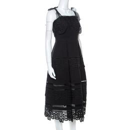 Self-Portrait Black Lace Tie Shoulder Dress S 221881